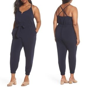 NEW Vince Camuto navy crepe satin jumpsuit size 16